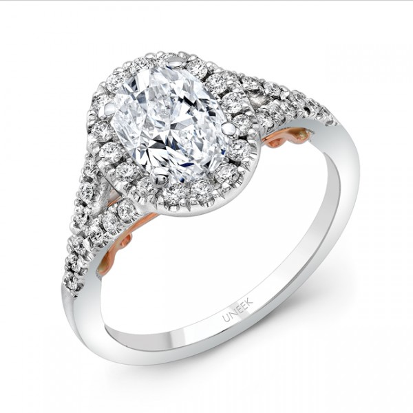"""Uneek """"Cancelli"""" Oval Diamond Halo Engagement Ring with Pave Split Shank in 14K White Gold, and Unde"""
