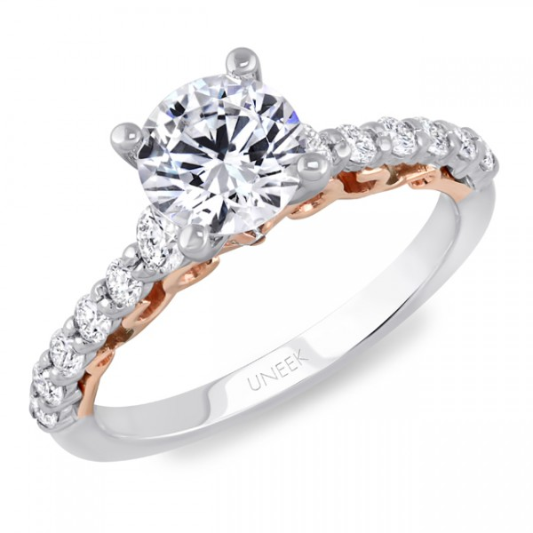 """Uneek """"La Vite Rampicante"""" Round Diamond Non-Halo Engagement Ring with Shared-Prong Shank in 14K Whi"""