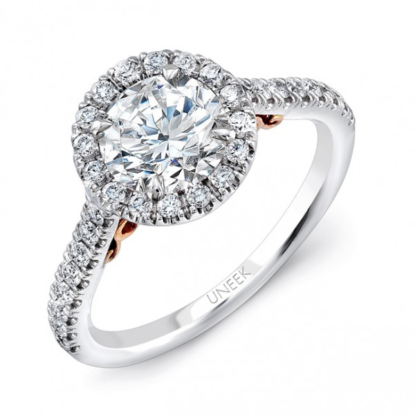 """Uneek """"Fiorire"""" Round Diamond Halo Engagement Ring with Pave Shank in 14K White Gold, and Under-the-"""