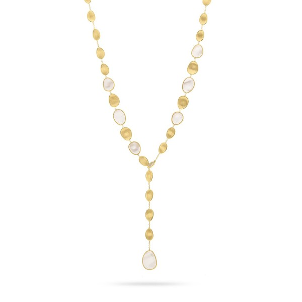 Lunaria 18K Yellow Gold Black Mother of Pearl with Diamond Pave Clasp Lariat