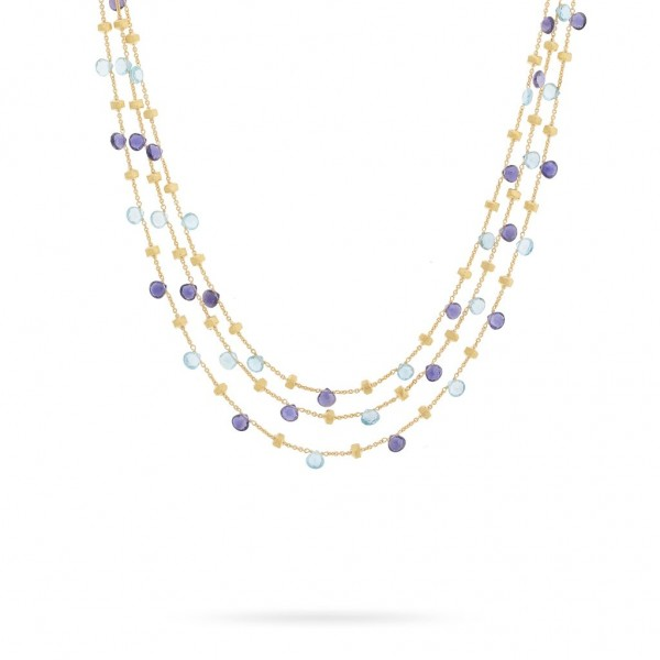 Paradise 18K Yellow Gold Iolite and Blue Topaz Three Strand Collar Necklace