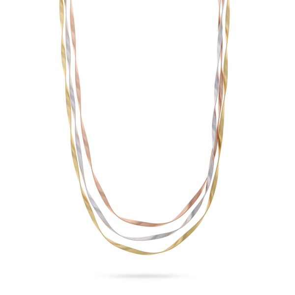 Marrakech Supreme 18K Yellow, White, and Rose Gold Three Strand Necklace