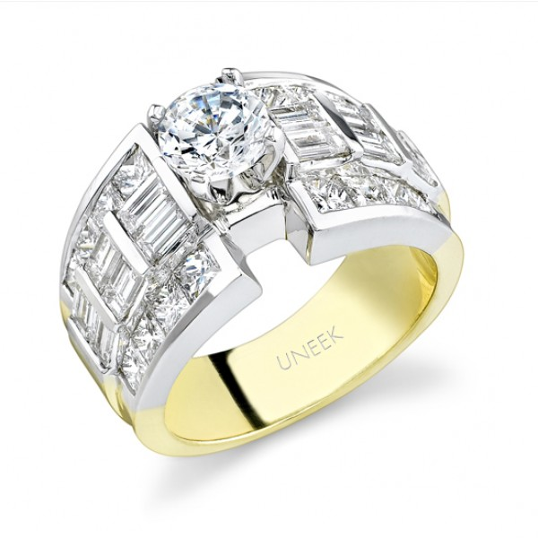 Uneek 18K White Gold Princess-cut and Baquette Diamond Engagement Ring SM177