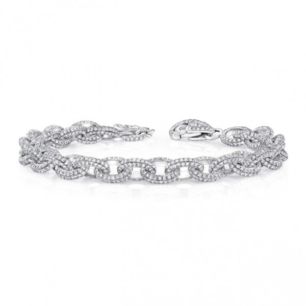 Uneek Classic Diamond Pave Link Bracelet, in 18K White Gold