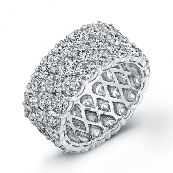 Uneek Three-Row Round Diamond Eternity Band, in 18K White Gold