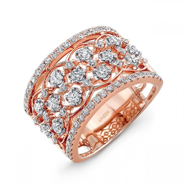 "Uneek ""Rosaline"" Open Lace Diamond Band in 14K Rose Gold"