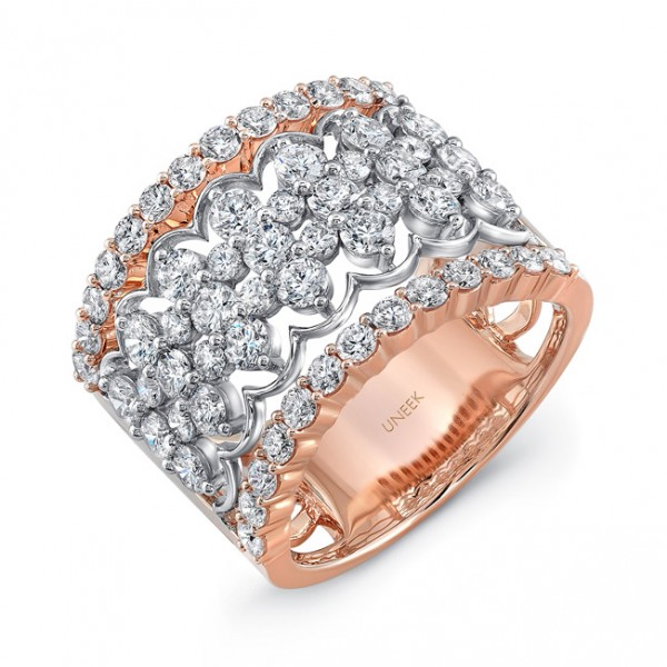 "Uneek ""Chantilly"" Open Lace Diamond Band in 14K Two-Tone Gold"