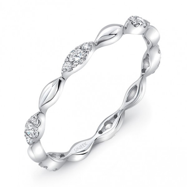 "Uneek ""Silver Lake"" Stackable Diamond Band in 14K White Gold"