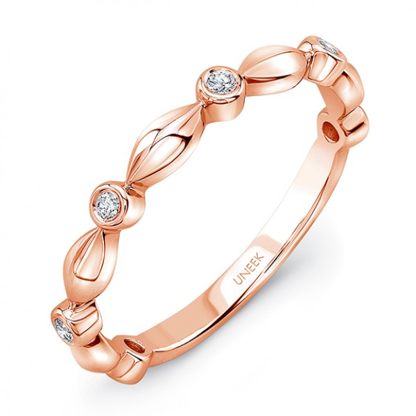 "Uneek ""Oriole"" Stackable Diamond Band in 14K Rose Gold"
