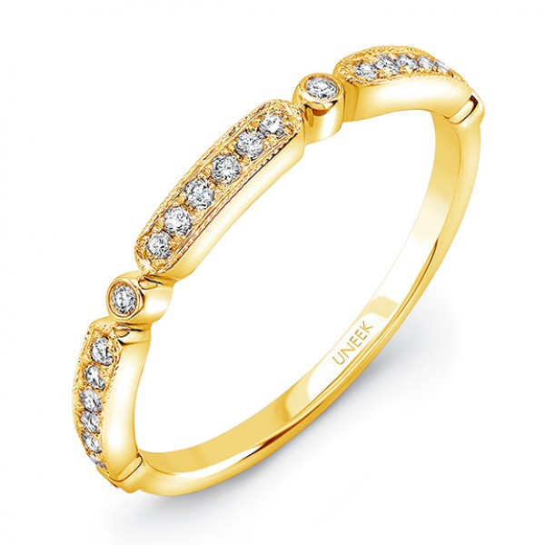 "Uneek ""Melrose"" Stackable Diamond Band in 14K Yellow Gold"