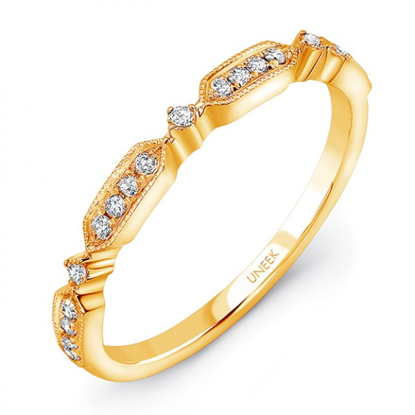 "Uneek ""Sunset"" Stackable Diamond Band in 14K Yellow Gold"