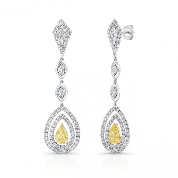 "Uneek Pear-Shaped Diamond Dangle Earrings with Teardrop-Shaped ""Floating"" Double Halos and Kite-Shap"