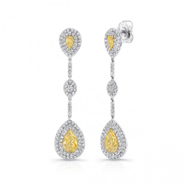 Uneek Pear-Shaped Yellow Diamond Dangle Earrings, in 18K White and Yellow Gold