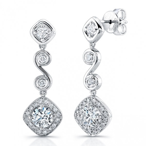 Uneek Round Diamond Dangle Earrings with Tilted Cushion Halos and Swirl-Style Links, in Platinum