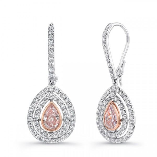 Uneek Pear-Shaped Pink Diamond Double Halo Dangle Earrings, in Platinum and 18K Rose Gold