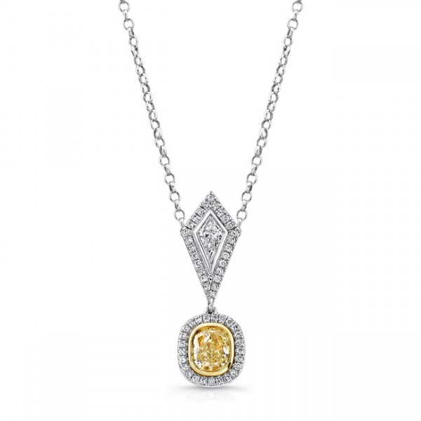 Uneek Cushion-Cut Yellow Diamond Halo Pendant with Kite-Shaped Accent White Diamond, in 18K White an