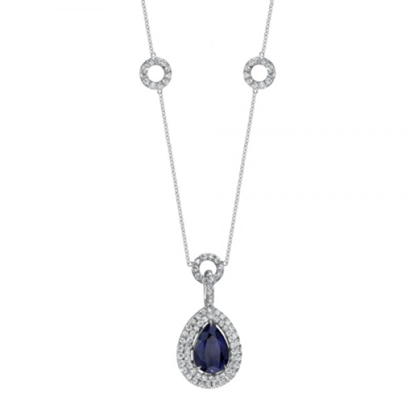 Saphisto Collection 18K White Gold Pear Shaped Sapphire and Round Diamond Pendant LVN536