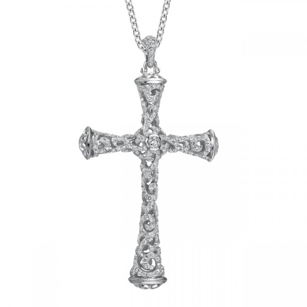 Uneek 18K Gold Round Diamond Cross Pendant  LVN562