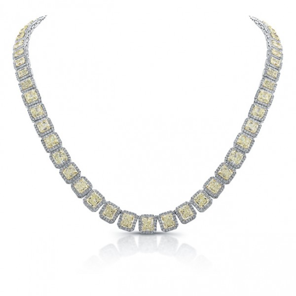 Uneek Radiant Cut Fancy Yellow Diamond Necklace, in 18K Gold