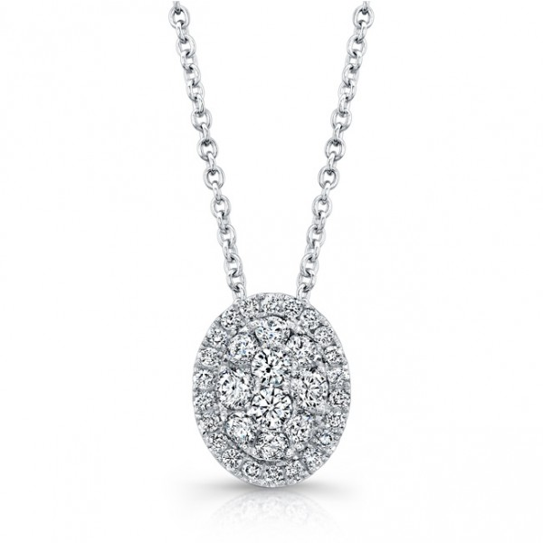 Bouquet Collection Diamond and 14K White Gold Oval Cluster Pendant LVN662