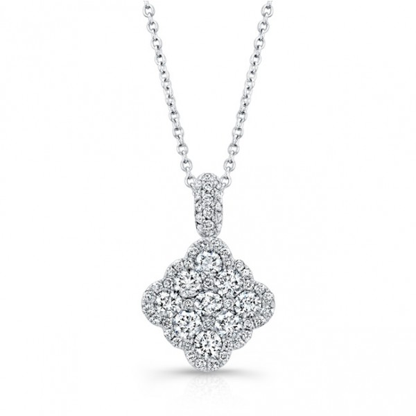 Bouquet Collection Diamond and 14K White Gold Cushion Shaped Dangling Pendant LVN666
