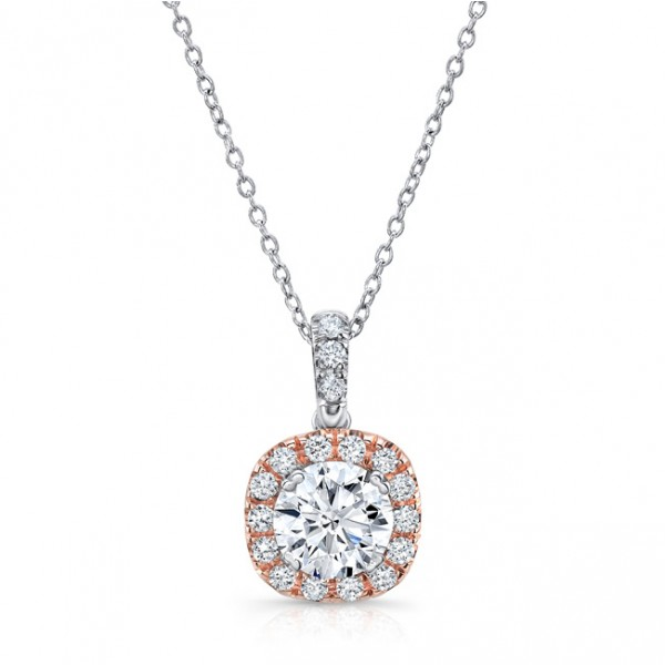 Uneek Round Diamond Pendant with Dainty Cushion-Shaped Rose Gold Halo