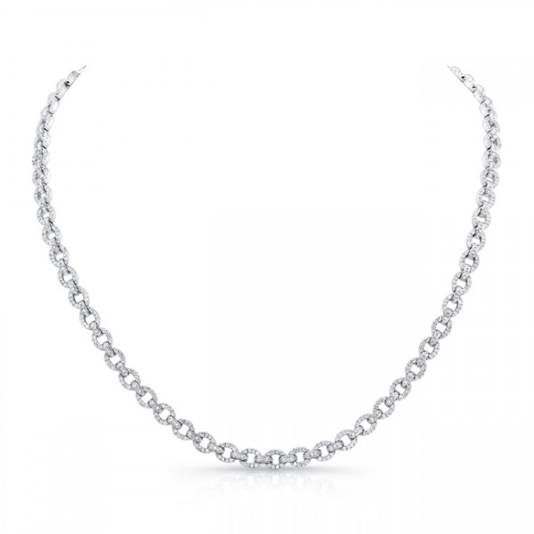 Uneek Diamond Pave Round Link Necklace, in 18K White Gold