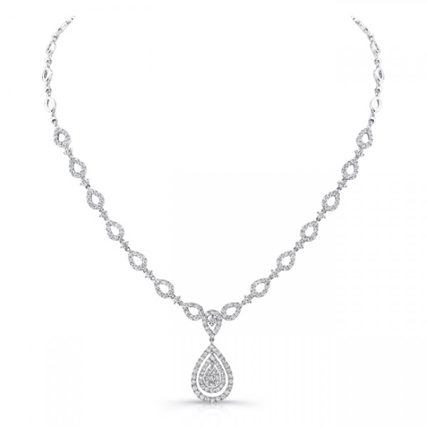 Uneek 4-Carat Teardrop-Motif Diamond Cluster Necklace with Double Floating Halo Around Center Cluste