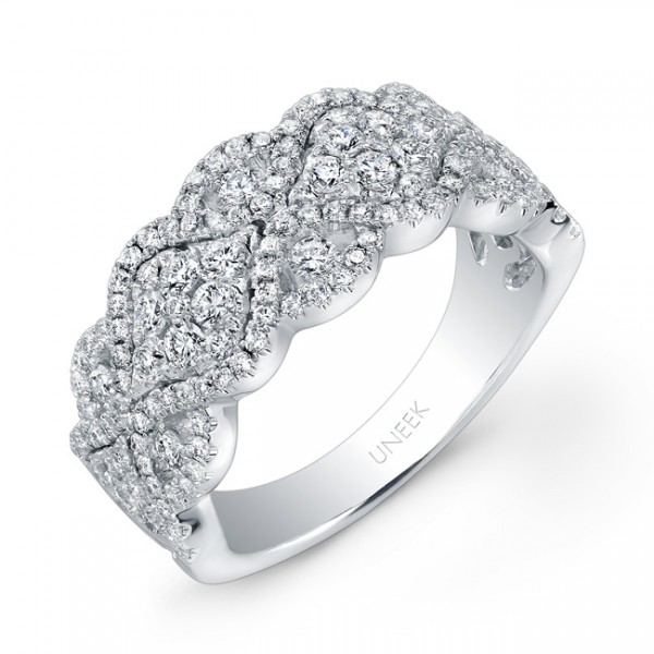 "Uneek ""Point de Venise"" Diamond Cluster Band in 14K White Gold"