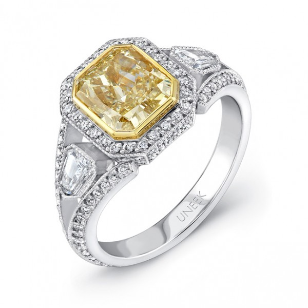 Uneek Natureal Yellow Radiant Diamond Engagement Ring LVS387