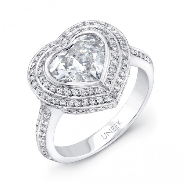 Uneek Heart-Shaped Diamond Engagement Ring with Double Halo, in Platinum