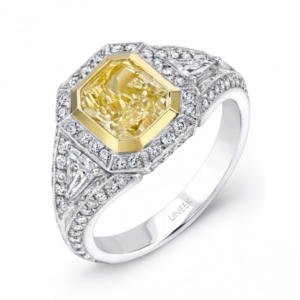 Uneek Natureal Yellow Radiant Diamond Engagement Ring LVS492