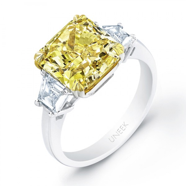 Natureal Collection Platinum and 18K Yellow Gold Cushion Cut Yellow Diamond Ring LVS567