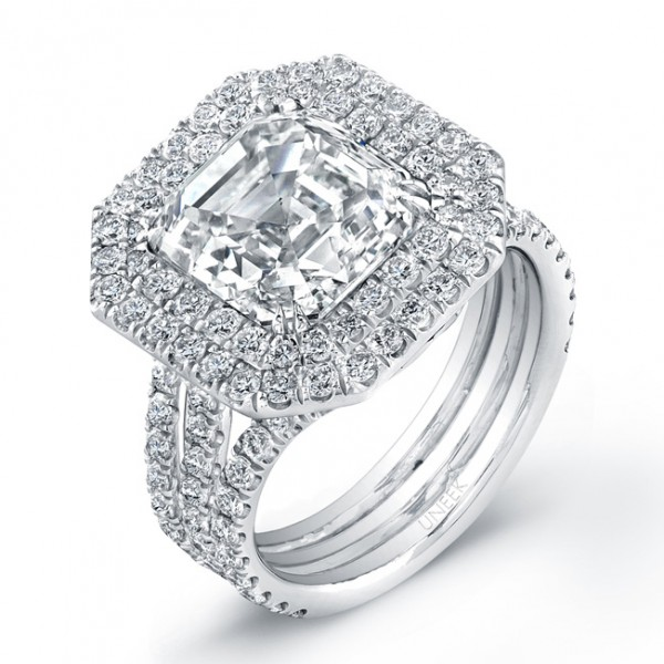 Uneek 4-Carat Asscher-Cut Diamond Engagement Ring with Double Halo and Triple Split Shank, in Platin