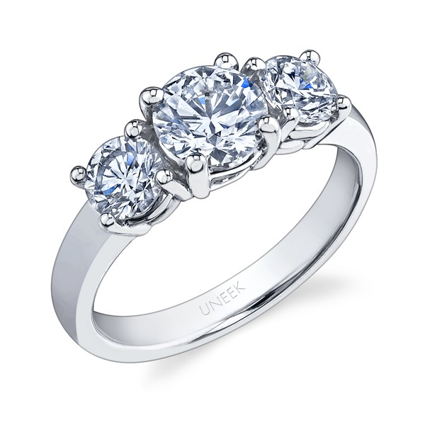 Uneek Platinum Three-Stone Round Diamond Ring LVS689