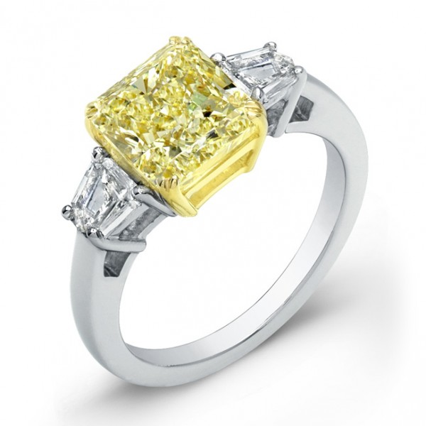 Uneek Natureal Yellow Radiant Cut Diamond Engagement Ring LVS733