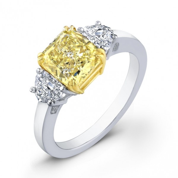 Uneek Natureal Yellow Radiant Diamond Engagement Ring LVS734