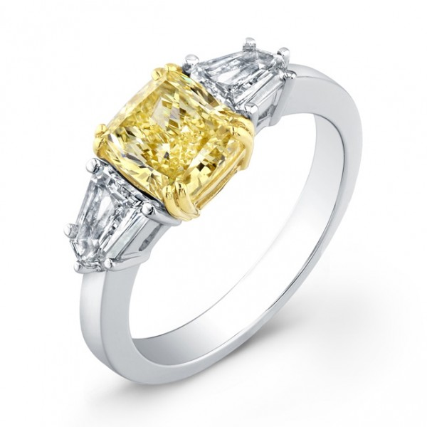 Uneek Natureal Yellow Radiant Diamond Engagement Ring LVS735