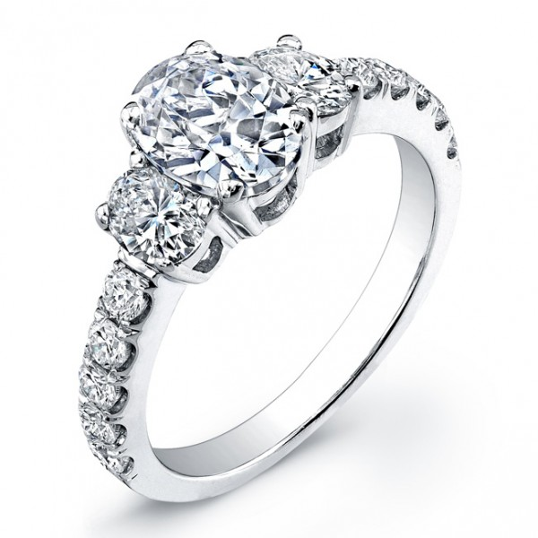 Three Stone Oval-Shape Diamond Engagement Ring