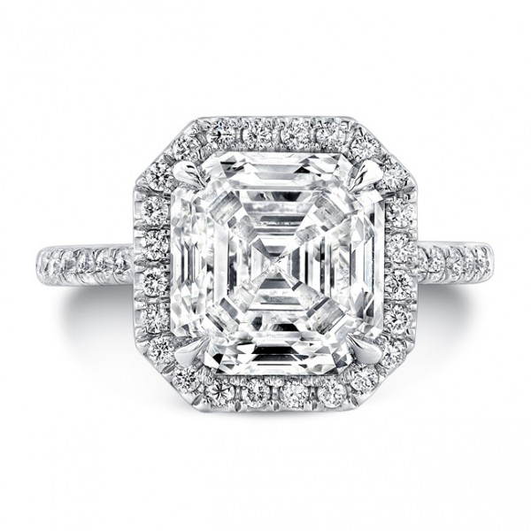 Uneek Platinum Asscher Cut Halo Diamond Engagement Ring-LVS787AS