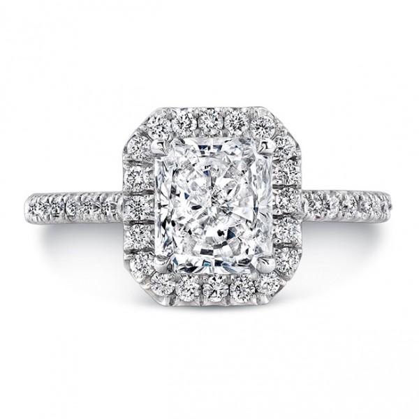 Uneek Platinum Radiant Diamond Halo Engagement Ring-LVS787RAD