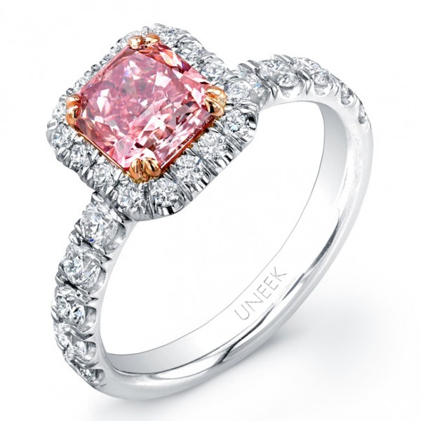 Uneek Radiant-Cut Pink Diamond Halo Engagement Ring, in Platinum and 18K Rose Gold