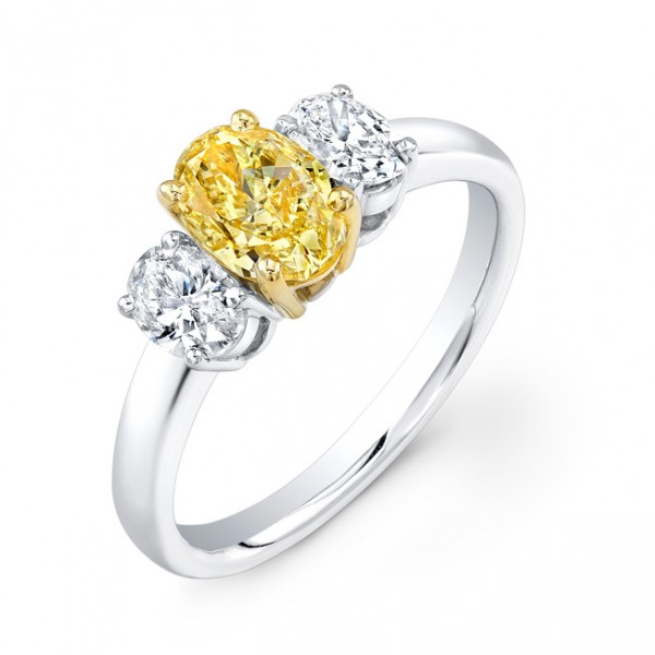 Uneek Natureal Yellow Diamond Oval Diamond Engagement Ring LVS823