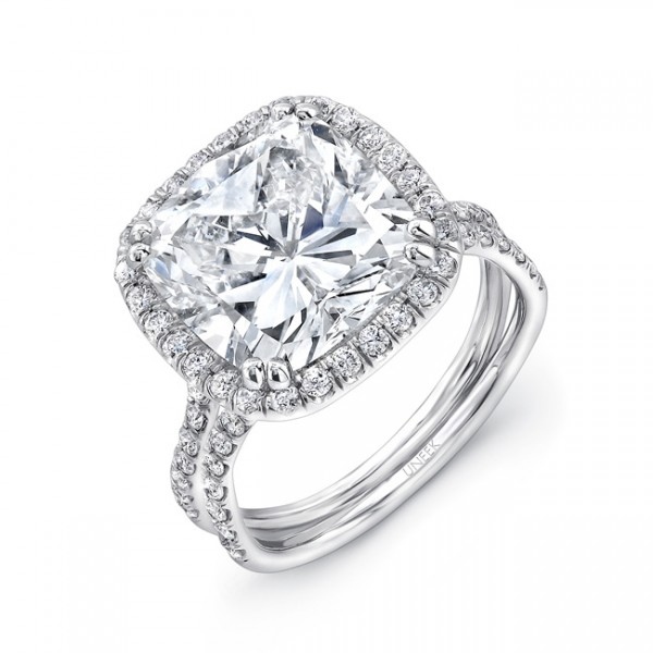 Halo Double Shank Platinum Cushion-Cut Diamond Engagement Ring LVS828