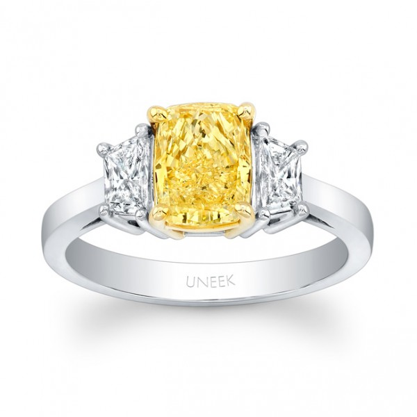 Uneek Natureal Fancy Yellow Radiant Diamond Engagement Ring LVS847