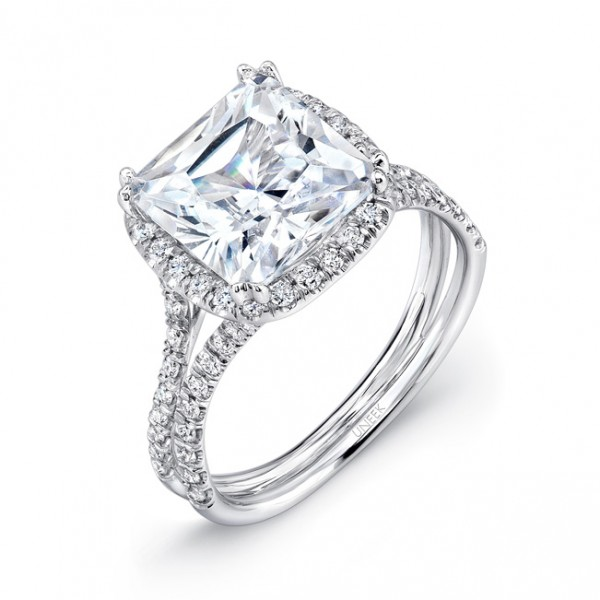 Uneek 3-Carat Cushion-Cut Diamond Halo Engagement Ring with Pave Double Shank, in 18K White Gold