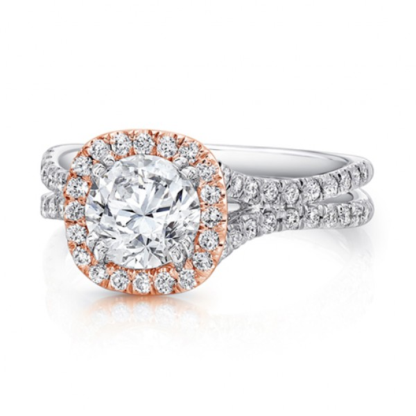 Uneek Round Diamond Engagement Ring with Cushion-Shaped Halo in Rose Gold and Pave Double Shank in W