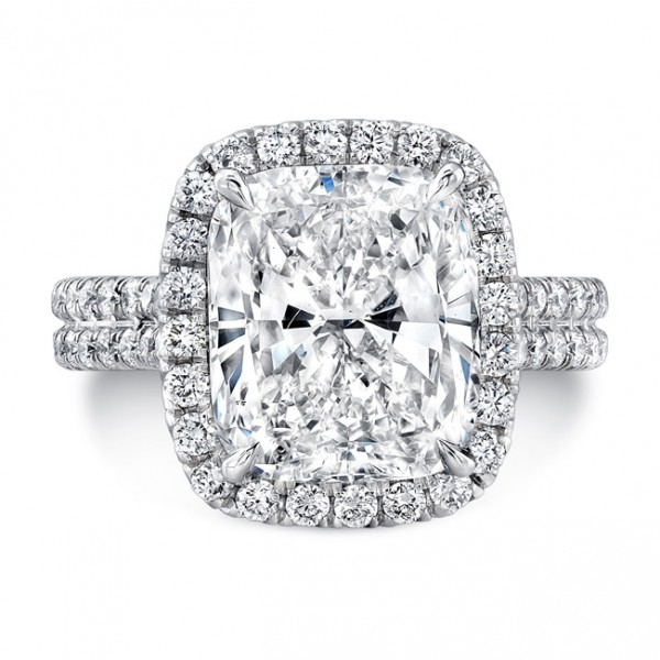 Uneek Platinum Cushion Cut Halo Diamond Engagement Ring-LVS963
