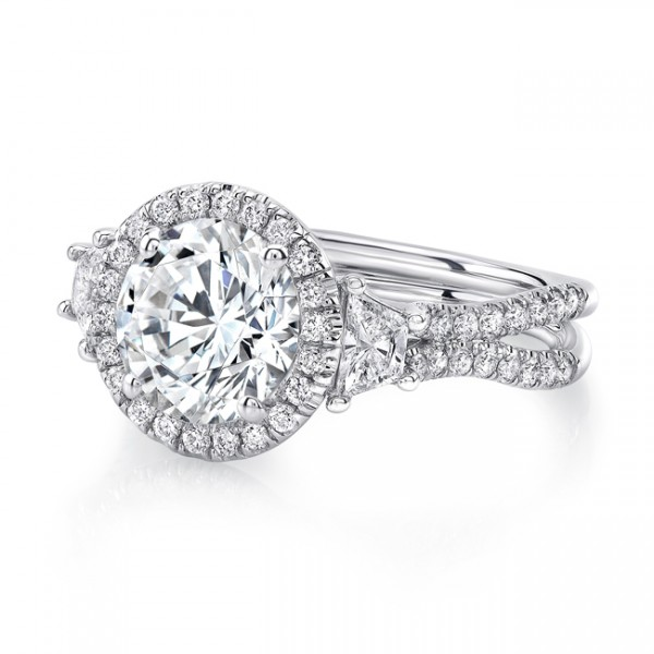 Uneek Round-Center Three-Stone Engagement Ring with Pave Double Shank, in 18K White Gold