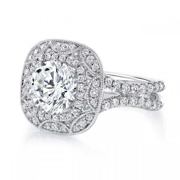 Uneek Vintage-Inspired Round Diamond Engagement Ring with Cushion-Shaped Art Deco-Style Double Halo